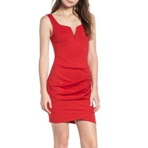 Tiger Mist Mini Dress Size S Ruched Bodcon Red